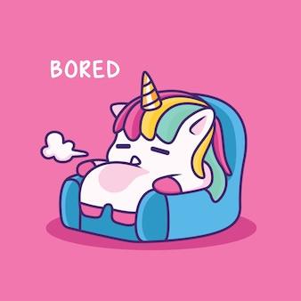 Unicornio aburrido en un sofá