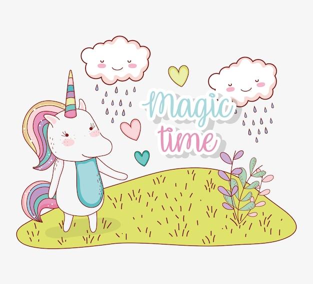 Unicornio animal con nubes lloviendo y plantas.