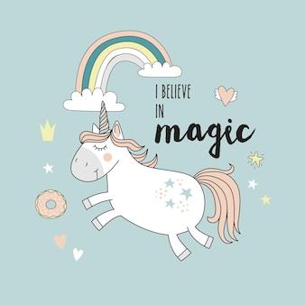 Unicornio con arco iris aislado en azul