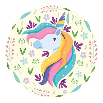Unicornio arcoiris cabello
