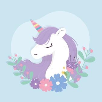 Unicornio arcoiris cuerno y flores fantasía magia sueño lindo dibujos animados fondo azul ilustración
