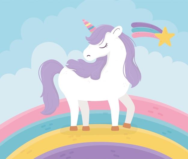 Unicornio arcoíris estrella fugaz fantasía magia sueño linda ilustración de dibujos animados