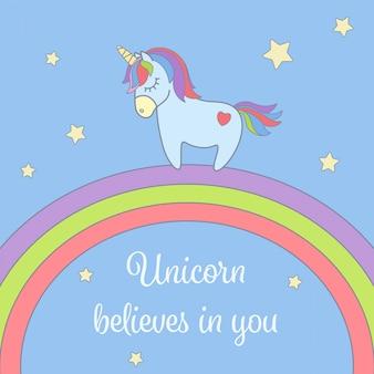Unicornio y arcoiris con estrellas tarjeton