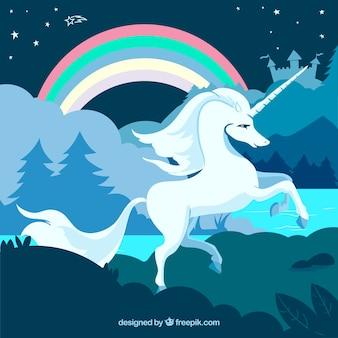 Unicornio y arcoíris en la naturaleza