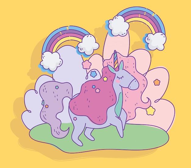 Unicornio arcoiris nubes estrellas fantasía magia dibujos animados