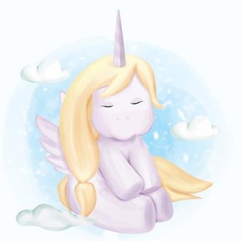 Unicornio bebé en el cielo con nubes
