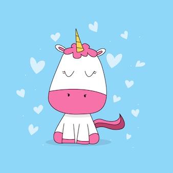 Unicornio bebé con corazón.
