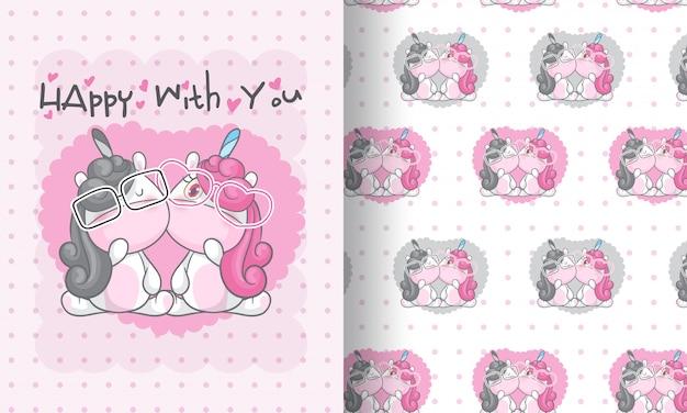 Unicornio de belleza encantadora ilustración de patrones sin fisuras para niños