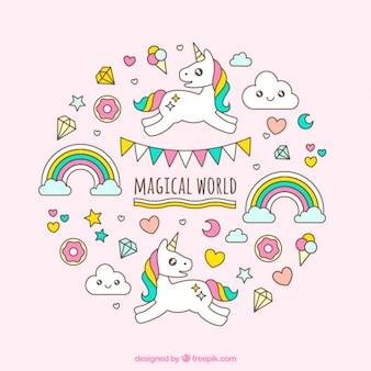 Unicornio blanco dibujado a mano en un mundo mágico