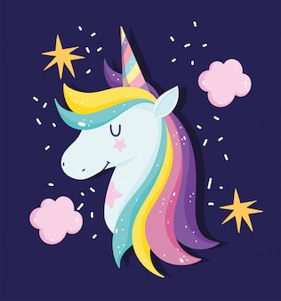 Unicornio con cabello arcoiris rodeado de estrellas y nubes.