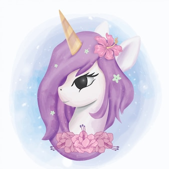 Unicornio cabeza ilustración retrato acuarela