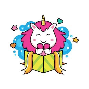 Unicornio con caja de dibujos animados