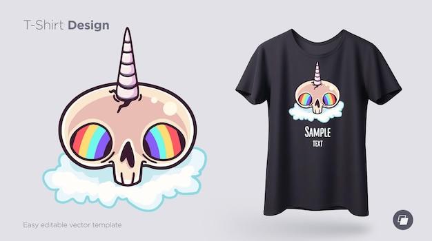 Unicornio de calavera con diseño de camiseta de ojos de arco iris impresión para carteles de ropa o recuerdos