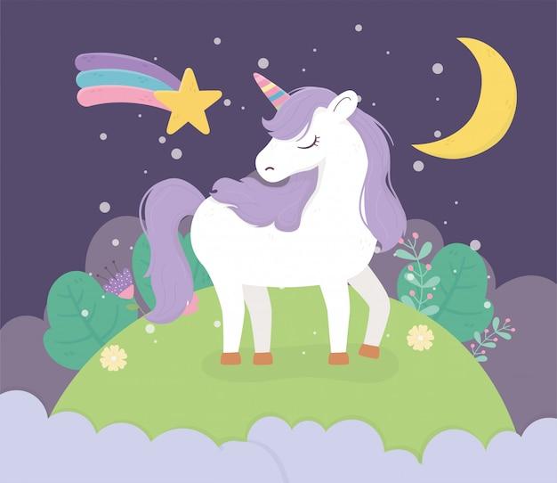 Unicornio campo luna noche estrella fantasía magia sueño lindo dibujos animados