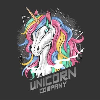 Unicornio de color completo con cuerno de oro y arte de pelo arco iris