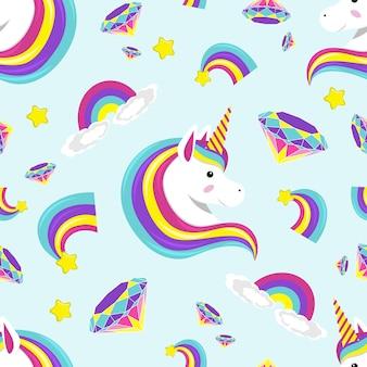 Unicornio de color lindo, arco iris, patrón transparente de diamante con fondo de estrella. ilustración de vector sobre fondo azul.