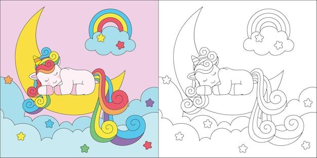 Unicornio para colorear durmiendo en la luna