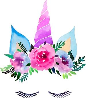 Unicornio colorido mágico encantador de la acuarela con las pestañas en la corona blanda floral