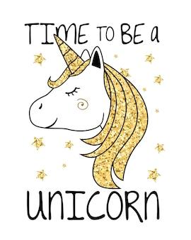 Unicornio con pelo y cuerno de oro brillo