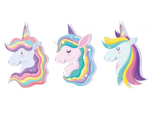 Unicornio con conjunto de pelo arcoíris