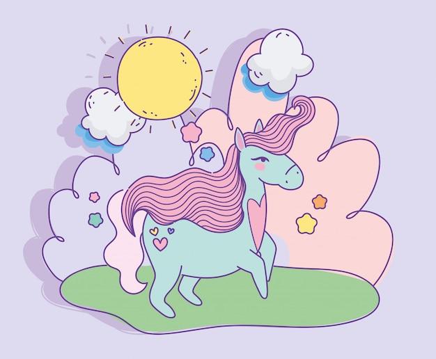 Unicornio con corazón amor día soleado nubes fantasía mágica caricatura ilustración vectorial