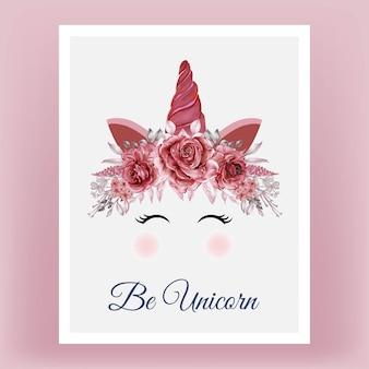 Unicornio corona acuarela flor rosa rojo borgoña dibujado a mano ilustración