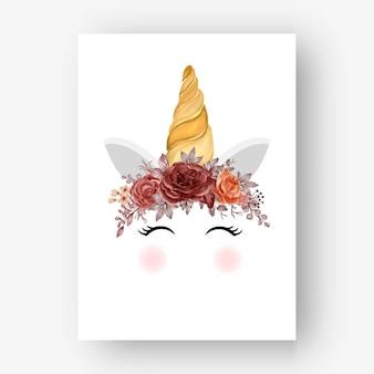 Unicornio corona acuarela otoño otoño rosa