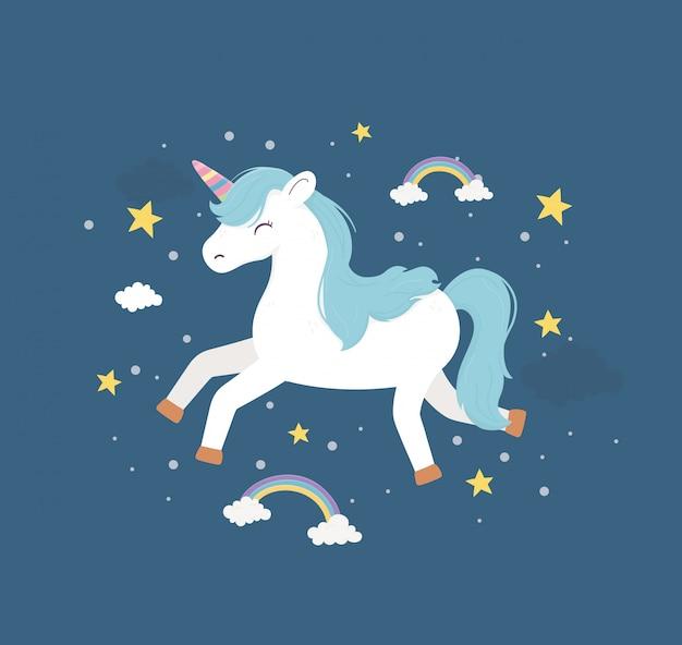Unicornio corriendo arcoiris estrellas fantasía magia sueño linda caricatura ilustración