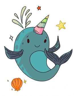Unicornio criatura de fantasía narval. personaje de dibujos animados de niño ballena narval unicornio divertido aislado con dibujo de boceto de cuerno, concha y estrella de mar. vector lindo feliz fantasía criatura animal doodle art