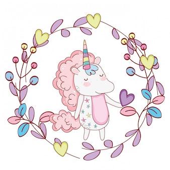 Unicornio dentro guirnalda lindos dibujos animados