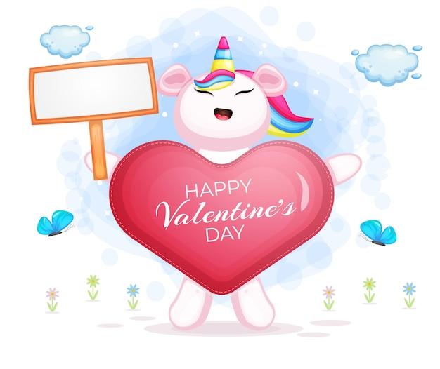Unicornio del día de san valentín detrás de la ropa del amor sosteniendo un tablero de texto en blanco