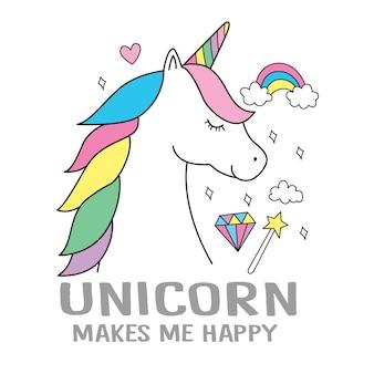 Unicornio dibujado a mano para camiseta