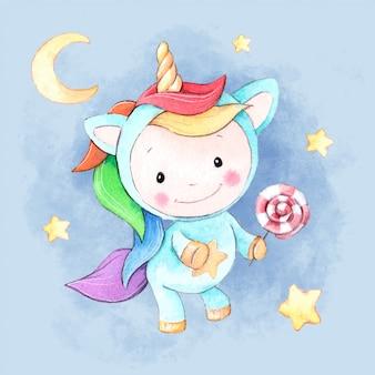 Unicornio de dibujos animados acuarela con una piruleta