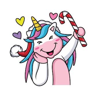 Unicornio de dibujos animados está celebrando la navidad con pose linda
