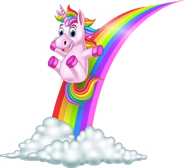 Unicornio de dibujos animados deslizamiento en un arco iris