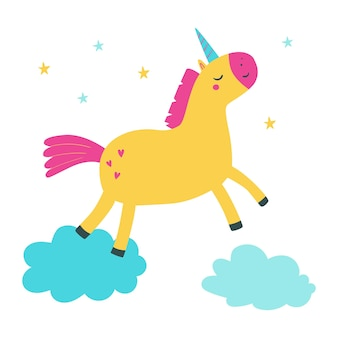 Unicornio de dibujos animados lindo saltando sobre las nubes ilustración vectorial con unicornio ilustración vectorial