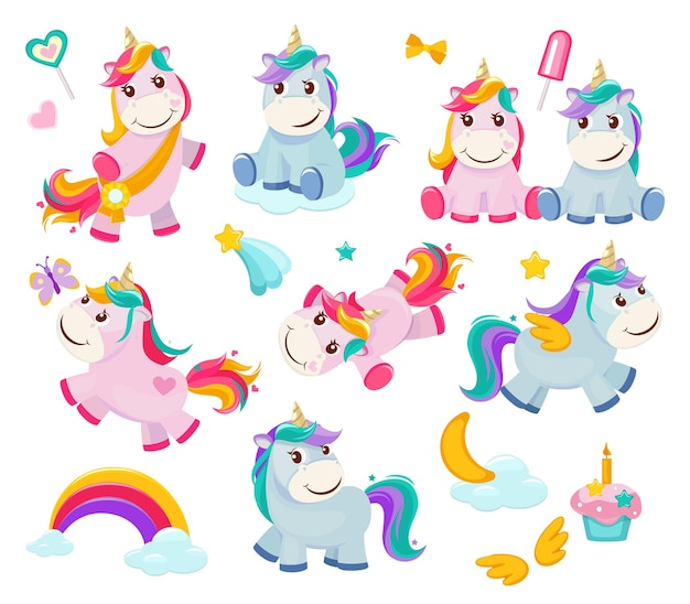 Unicornio de dibujos animados. personajes de cuento de hadas divertidos lindos pony mágico ilustraciones de animales felices.