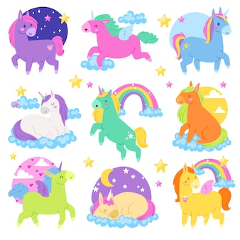 Unicornio de dibujos animados de pony o personaje de bebé de caballo de niña con cuerno y colorida ilustración de cola de caballo conjunto de fantasía animal de cola de caballo infantil con corazón sobre fondo blanco