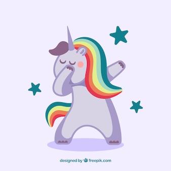Unicornio divertido haciendo dabbing