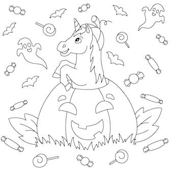 Unicornio divertido saltando de una calabaza para las vacaciones de halloween página de libro para colorear para niños