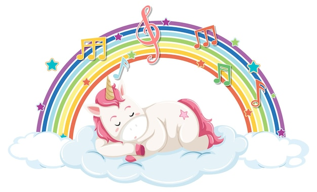Unicornio durmiendo en la nube con arco iris y símbolo de melodía
