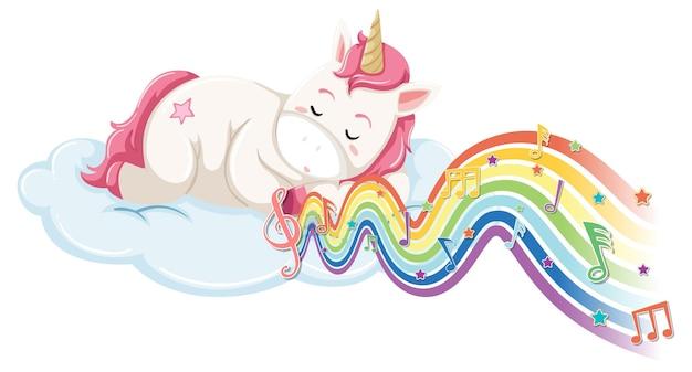 Unicornio durmiendo en la nube con símbolos de melodía en la onda del arco iris