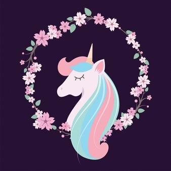 Unicornio encantador colorido con corona floral y bacground oscuro