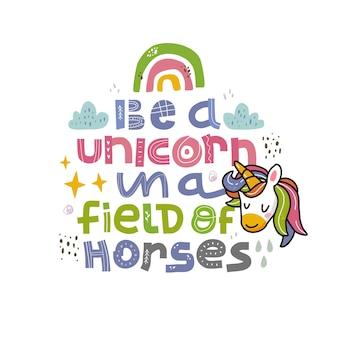 Unicornio es mi espíritu animal dibujado a mano letras inspiradoras y motivacionales estilo escandinavo