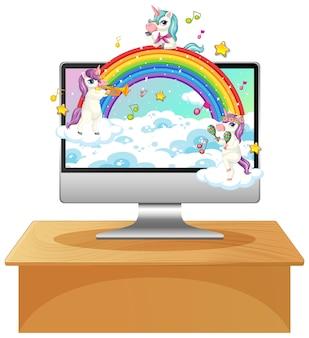 Unicornio en el escritorio de la computadora portátil