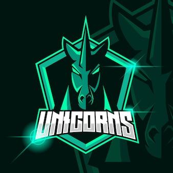 Unicornio esport logo plantilla diseño ilustración vectorial