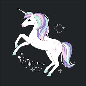 Unicornio de estilo plano estilizado. arte femenino lindo.
