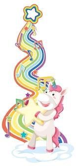 Unicornio con estrella con arco iris sobre fondo blanco.