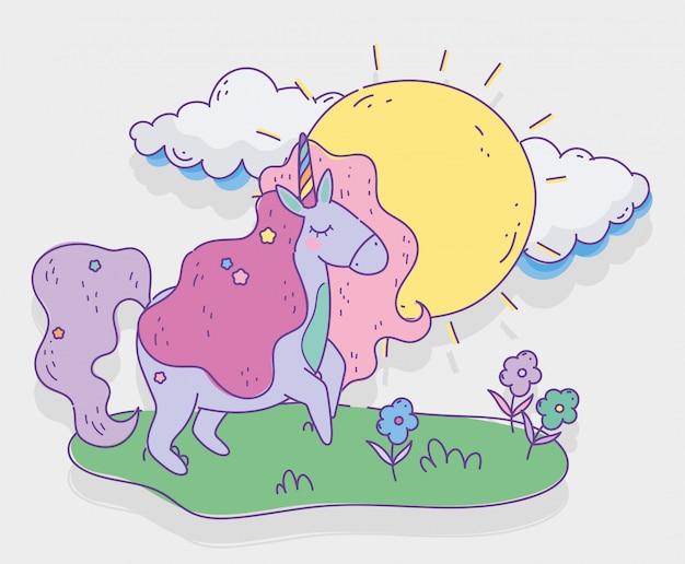 Unicornio con estrellas día soleado flores fantasía magia dibujos animados