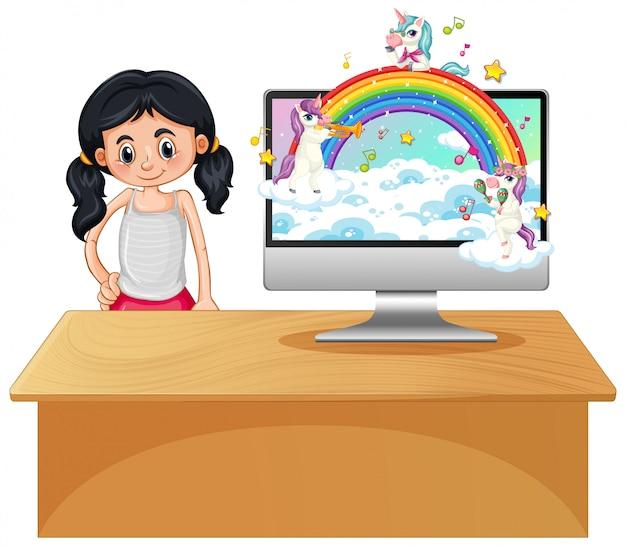 Unicornio de fantasía en el escritorio de la computadora